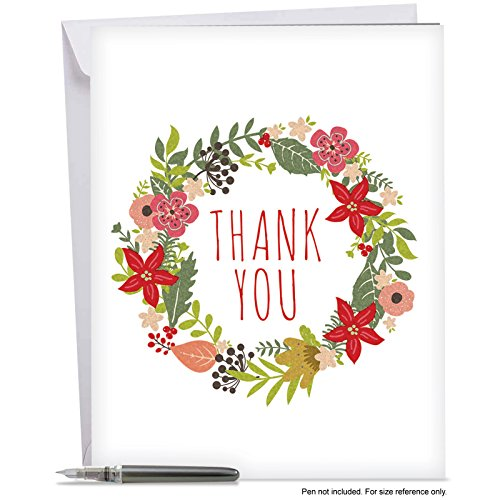 J6653AXTB Jumbo Blank Thank You Card: Watercolor Wreaths Featuring Bright and Cheery Holiday Floral Wreaths Ringed with Bells and Holly,With Envelope (Extra Large Version: 8.5'' x 11'')