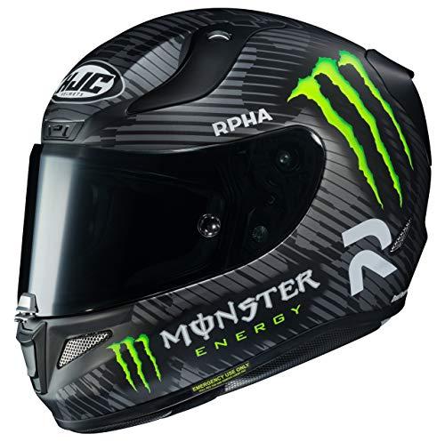 HJC RPHA - Casco de moto unisex para adulto con cara completa de 94 monstruos (negro/blanco/verde, tamaño mediano)