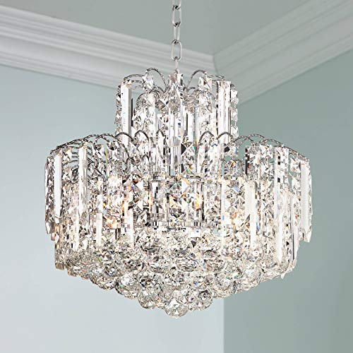 "Leya 19"" Wide Chrome and Crystal 6-Light Chandelier - Vienna Full Spectrum"