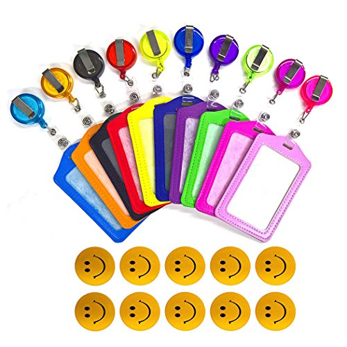 Aoyoho 10Pcs PU Leather Business Id Credit Card Badge Holder with Retractable ID Badge Reel