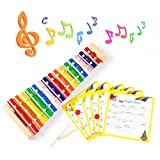 KIDAMI Wooden 15 Notes Xylophone Musical Instrument Toy for Kids, Educational Music Toys Includes 2 Wooden Mallets and 6 Colorful Classic Song Cards