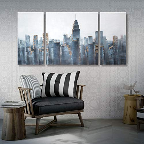 Wall Bracket Cityscape (Abstract City Wall Art 3 Piece 100% Hand painted Oil Painting New York Cityscape Architecture Artwork Framed NY Skyline for Living Room Bedroom Home Office Decor Gold Black and White Large 48
