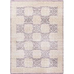 "Well Woven Giovane Lavender Modern Panel 5x7 (5'3"" x 7'3"") Area Rug Purple Beige Ivory Vintage Floral Mediterranean Tile Carpet"