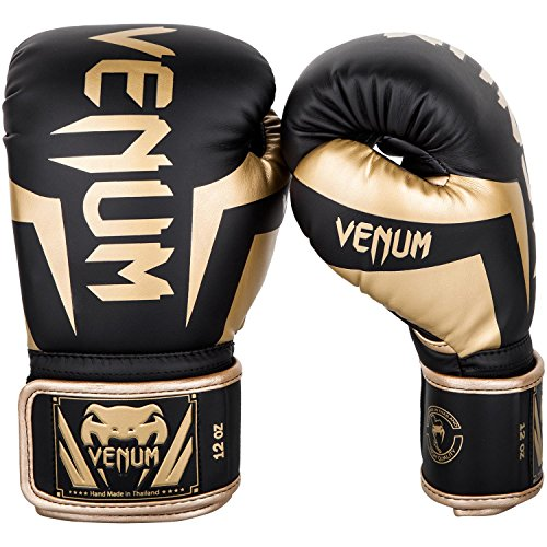 Venum Elite Boxing Gloves - Black/Gold - 12oz