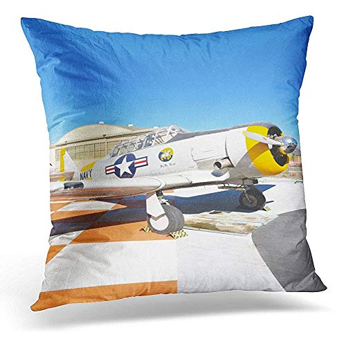 Pillow case Orange Irvine Ca January 31 SNJ 5 Texan WWII Era Plane on Display at The Great Park in California Throw Pillow Case Home Decor Square Pillowcase 18x18 Inches