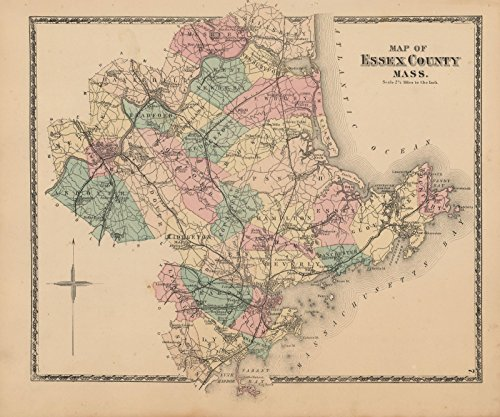 Historic Pictoric Map | Atlas of Essex County Massachusetts, Essex 1872 | Vintage Poster Art Reproduction | 24in x 30in