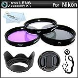 52MM Professional Lens Accessory Kit for NIKON Df DSLR (D5100 D5200 D5300 D3300 D3100 D40 D60 D80, P600) - Includes Filter Kit (UV, Polarizing, Fluorescent) Fits (18-55mm, 55-200mm, 50mm) Nikon Lenses