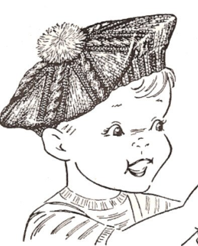 (Vintage Knitting PATTERN to make - Knitted Boys or Girls Toddler Size 2 Child Tam Hat Beret. NOT a finished item. This is a pattern and/or instructions to make the item only.)