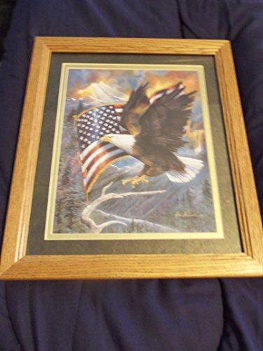 12x14 Eagle/Flag Light Oak Frame: Pecan Finish Beveled Double - Light 12 Bristol