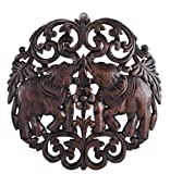 Elaborate Circular Double Thai Elephant Hand Carved Wood Wall Art Lanna Stly. by Thank You Chiangmai.