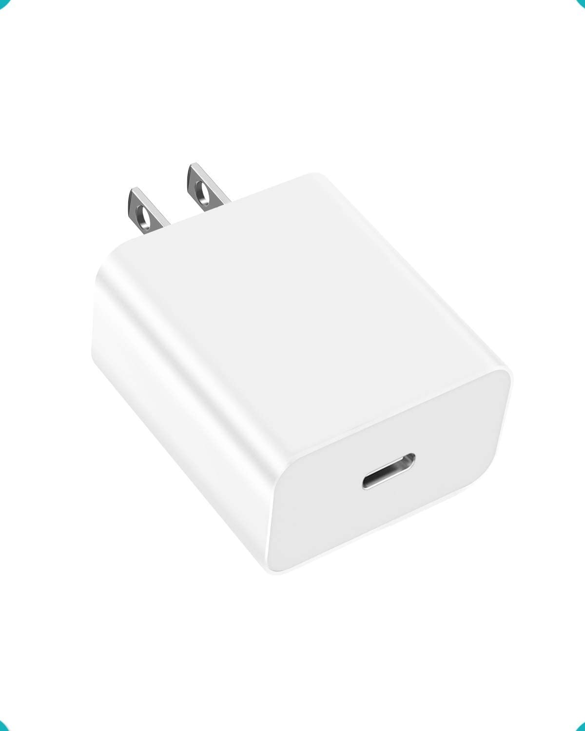 PD 18W USB Type C Wall Charger Plug Compatible with iPads, iPhones, Samsung Galaxy, Google Pixel, LG and More