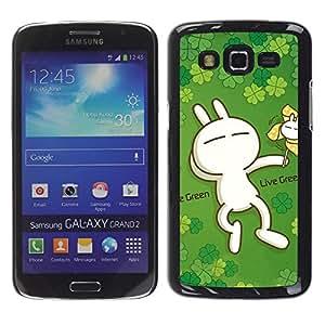 Smartphone Rígido Protección única Imagen Carcasa Funda Tapa Skin Case Para Samsung Galaxy Grand 2 SM-G7102 SM-G7105 Cute Live Green Rabbit / STRONG