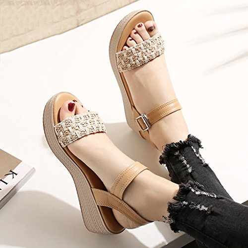 Schuhe Size 39 Frauen gewebt cm Höhe Schuhe einfache Heel High Mode der 2 5 Wedge Schuhe Color mit Brown Sandale Boden Muffin KaiGangHome dicken ABqxwOpg