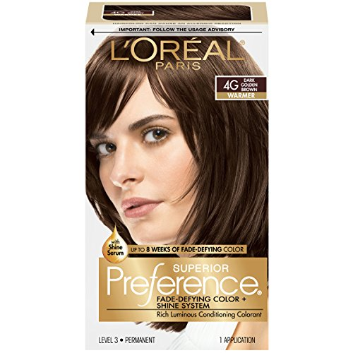 L'Oreal Paris Superior Preference Fade-Defying Color + Shine System, 4G Dark Golden Brown(Packaging May ()