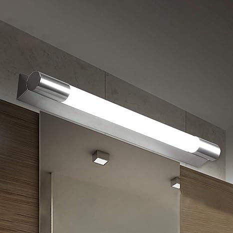 "LITFAD Wall Sconces Ceiling Light Mirror Bathroom Vanity Lights Waterproof  LED Under Cabinet Lighting Stainless Steel Tube LED Vanity 19.69"" Long 10W  Simple Wall Lamp Modern Linear Vanity White Light - -"