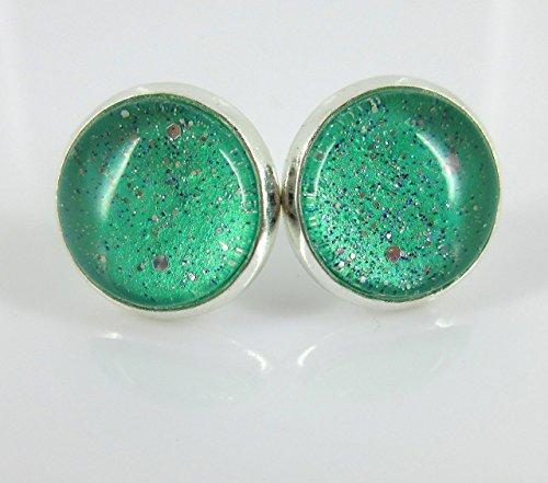 - Silver-tone Mint Green Twinkle Glitter Glass Galaxy Stud Earrings Hand-painted 12mm
