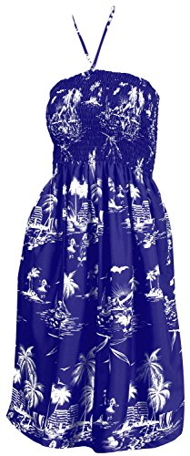 Hawaiian Dress Royal (LA LEELA Soft  Printed Short Kaftan Nightgowns Womens Royal Blue 1087 One Size)