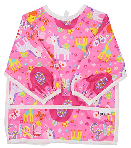 Pikababy Long Sleeved Bib Waterproof Bibs with Pocket - 6 to 24 Months Baby Girl and boy Colors ()