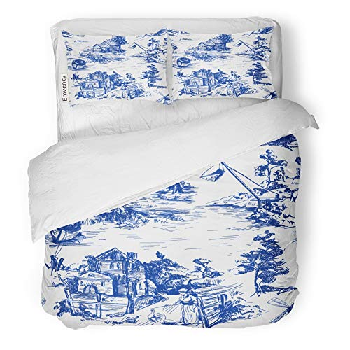 Emvency 3 Piece Duvet Cover Set Brushed Microfiber Fabric Breathable Classic Pattern Old Town Village Scenes of Fishing in Toile De Jouy White Bedding Set with 2 Pillow Covers Full/Queen Size