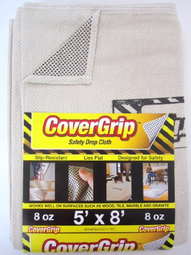 CoverGrip 005808 8oz 5'x8' 8 oz Canvas Safety Drop Cloth, 5' x 8', Off Off White 8 Ounce Canvas Drop