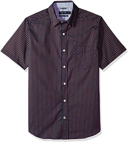 Nautica Mens Wrinkle Resistant Short SLV Print Pattern Button Down Shirt
