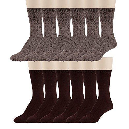 - Women's Dress Crew Socks - Lightweight, Soft Mid-Calf Short Trouser Sock – Size 5-12 – by PEDS (Burgundy & Brown Diamond Pattern)