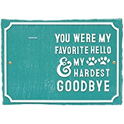 Whitehall My Hardest Goodbye Pet Memorial Photo Wall Sign - Keepsake Remembrance Plaque with Paw Prints and Picture Clip - Deepsea Blue/White