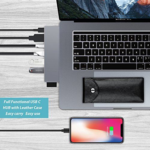 USB C Hub Adapter for Macbook pro 2018/2017/2016, 8 in 1 40Gbps Type C Hub with USB-C 100W Power Delivery, USB C 5Gbps Data, 5K HDMI, microSD/SD Card Reader, 3xUSB 3.0 Ports by Greenlaw by GreenLaw (Image #6)