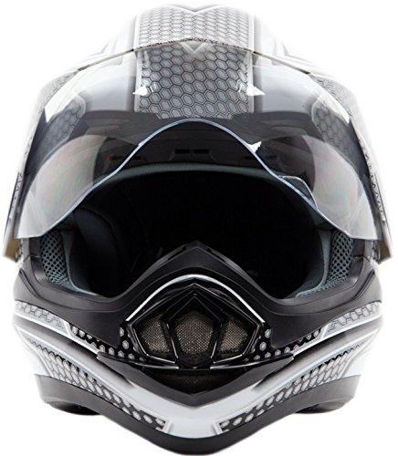 Dual Sport Helmet Combo w/Gloves - Off Road Motocross UTV ATV Motorcycle Enduro - Silver, Black - XXL by Typhoon Helmets (Image #5)