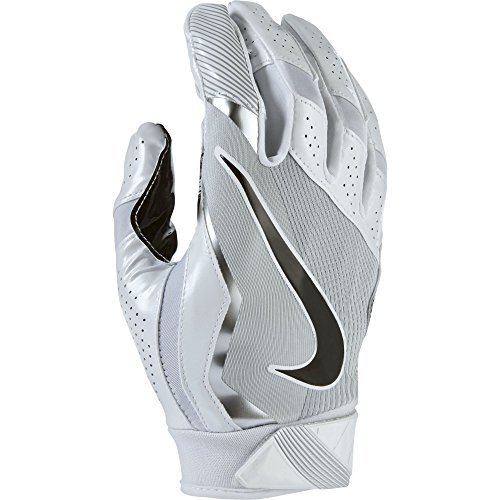 (Men's Nike Vapor Jet 4 Football Gloves White/Wolf Grey/Black Size Medium)