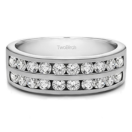 Row Channel Set Anniversary band in Sterling Silver CZ(Size 3 to 15 in 1/4 Size Intervals) ()