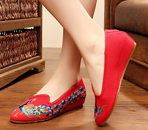 Dress Womens Toe Shoes Red Embroidery Peacock AvaCostume Wedge Party Point Elegant 6Xqq8dZ