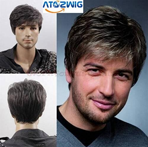 Mens Grey Wig (ATOZWIG@Quality Men Short Cool Lolita Black Grey Mix Wig Capless Caps Comb+Clip+Wig Cap)