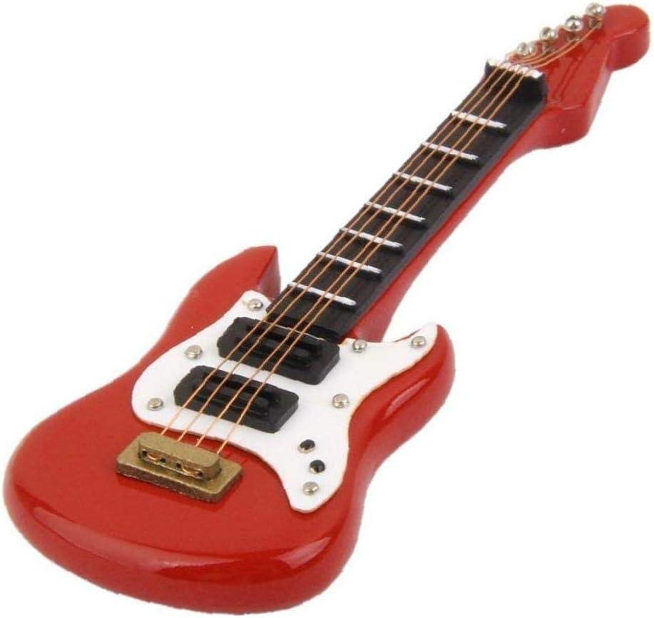 1/12 Casa de muñecas en miniatura juguete del instrumento musical Guitarra eléctrica de madera (rojo)
