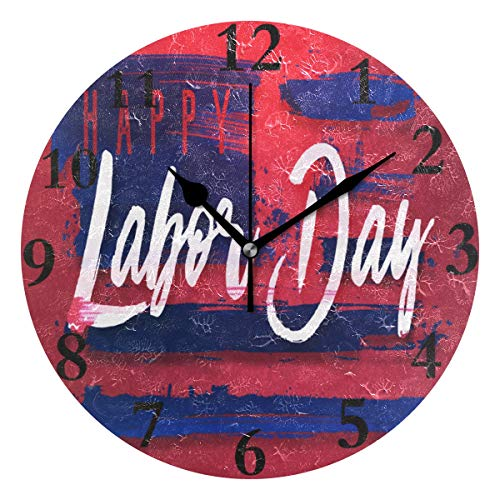 Wall Clock Inspiring Labor Day Wallpaper Silent Non Ticking Decorative Round Digital Clocks for Home/Office/School Clock ()