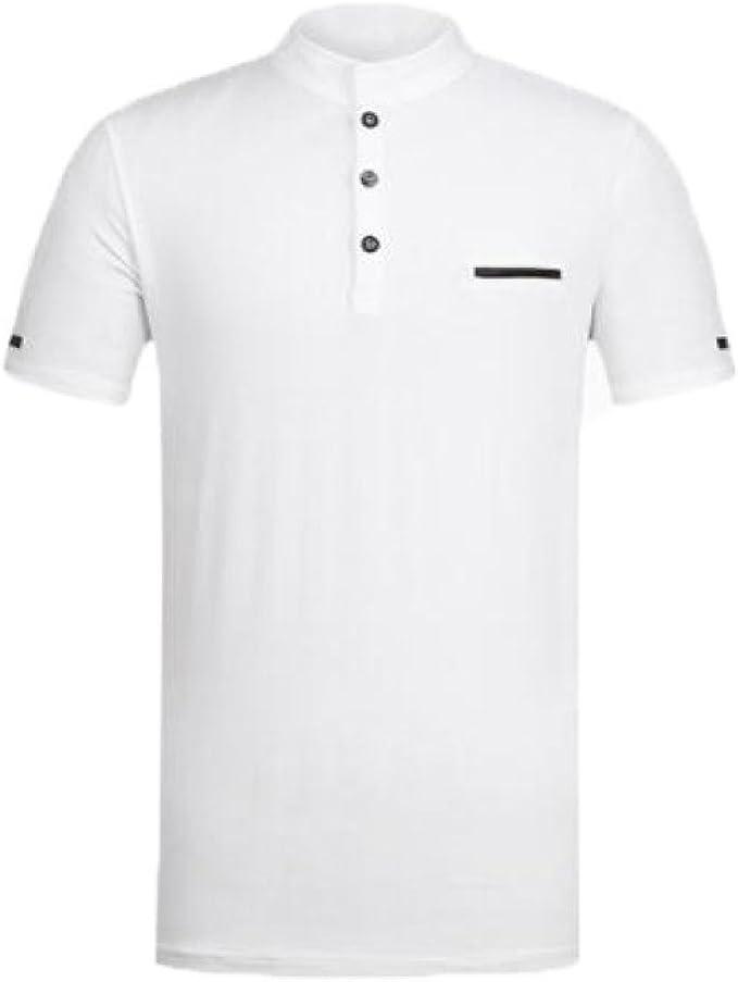 Polo para Hombre Camisetas Cuello Alto Slim Casual Tops con Cuello ...