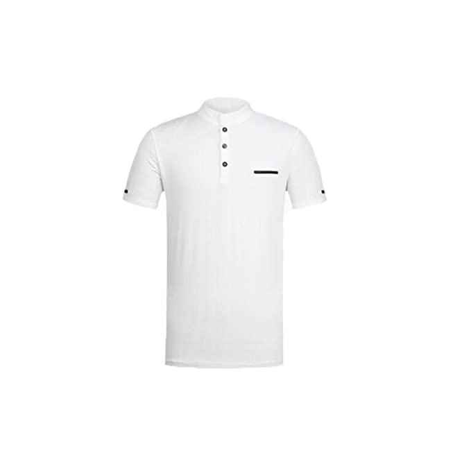 Polo para Hombre Camisetas Cuello Alto Slim Casual Tops con Cuello En V Manga Corta Polo