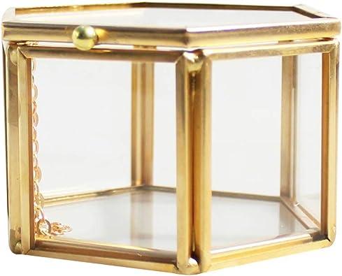 Lazder Joyero geométrico de Cristal Transparente, Organizador de ...
