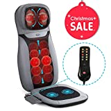 INTEY Shiatsu Massage Chair Pad Acupressure Therapy Back Massager Cushion with Heat (Back& Neck) & Vibrating (Seat) Functions for Home Office- Excellent Gift for Family