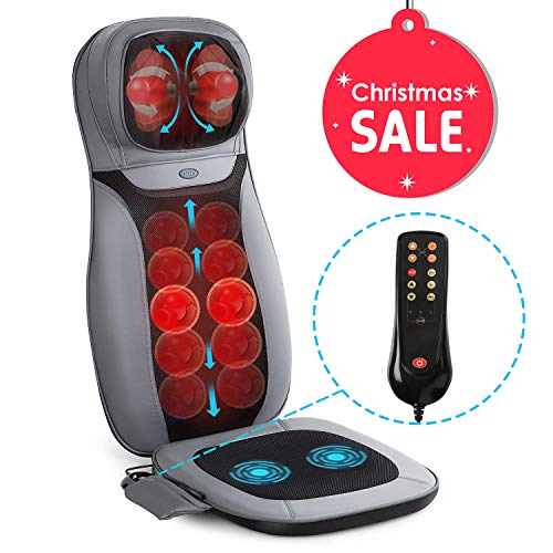 INTEY Shiatsu Massage Chair Pad Acupressure Therapy Back Massager Cushion with Heat (Back& Neck) & Vibrating (Seat) Functions for Home Office- Excellent Christmas Gift for Family