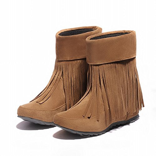 Wedge Heel Boots Brown Tassels Fashion Simple Yellow Dress Womens Comfort Carolbar qxURw7Xw