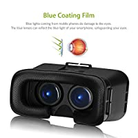 3D VR Glasses, AmiCool 3D Virtual Reality Headset Adjust Cardboard Video Movie Game Box for Apple iPhone 6 6S Plus 5S SE 5 and More Smartphones - Black by AmiCool