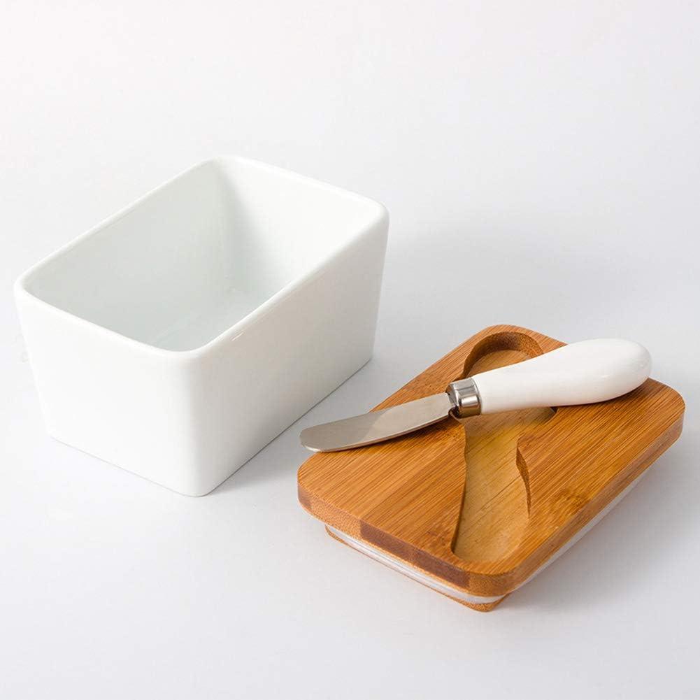 Saicowordist Beurrier en c/éramique avec couvercle Beurrier avec racloir couvert