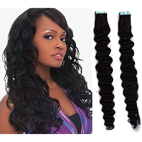 """HOTstyle - 20"""" (50cm) Tape Hair / Tape IN human REMY hair curly - black"""