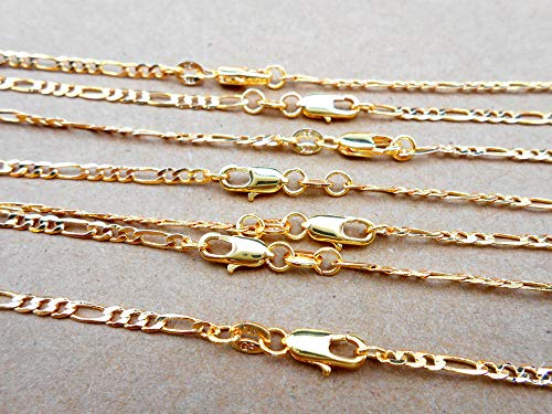 FidgetKute 5PCS Jewelry 2MM Figaro Necklace 18K Gold Filled Necklace Chains for Pendants 16 ()