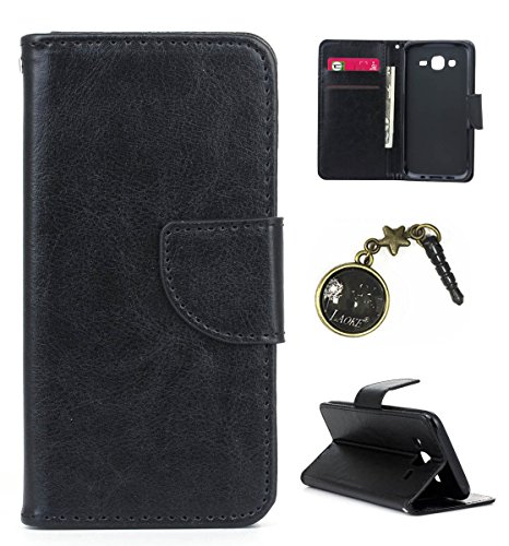 für Smartphone Samsung Galaxy J5 (2015) Hülle, Klappetui Flip Cover Tasche Leder [Kartenfächer] Schutzhülle Lederbrieftasche Executive Design +Staubstecker (3CG) 1