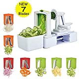 Spiralizer Vegetable Slicer 7-Blades, Strongest-and-Heaviest Duty Vegetable Spiral Slicer, Best Veggie Salad Pasta Spaghetti Maker for Keto/Paleo/Gluten-Free with Extra Blade Container