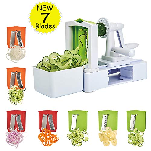 Spiralizer Vegetable Slicer 7-Blades, Strongest-and-Heaviest Duty Vegetable Spiral Slicer, Best Veggie Salad Pasta Spaghetti Maker for Keto/Paleo/Gluten-Free with Extra Blade Container by EAKON