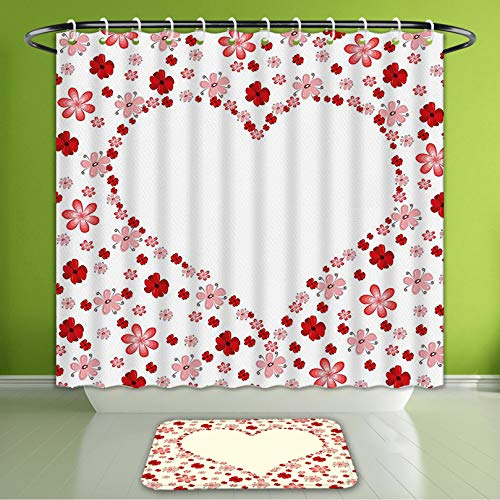Waterproof Shower Curtain and Bath Rug Set Valentines Day Decor Flowers Floral Print Heart Shape in The Middle Romantic Image Pink Red and Bath Curtain and Doormat Suit for Bathroom -