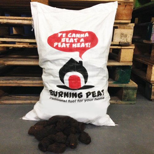 20kg of Peat Heat Smokeless Fire Fuel Coal Alternative for Open and Log Fires- Comes with THE LOG HUT Woven Sack.